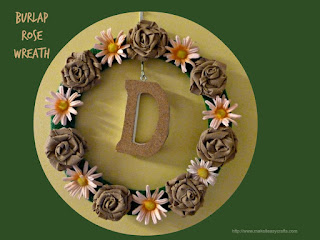 monogram burlap rose wreath
