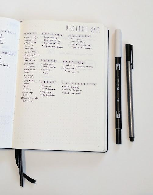 Project 333 Capsule Wardrobe Planning Planner Ideas Spread Layout Minimalist Minimalism Clothing Fashion Bullet Journal