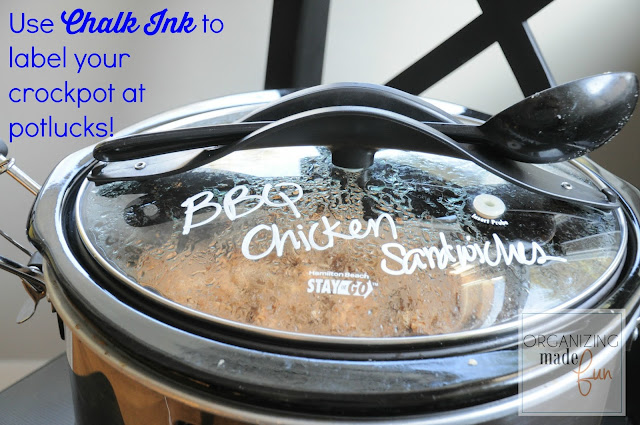 Use Chalk Ink to label your crockpot {slow cooker} at potlucks :: OrganizingMadeFun.com