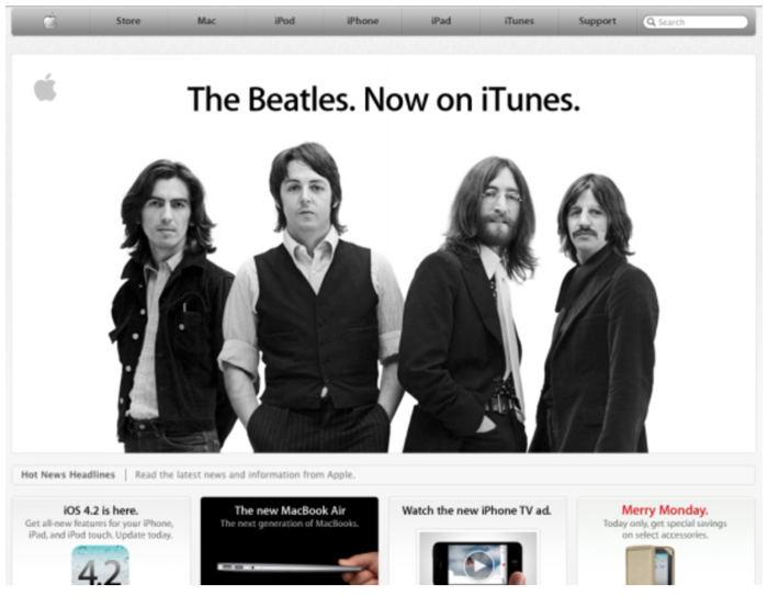 screenshot homepage sito apple con beatles