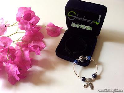 Vòng tay đá quý sapphire xanh kyanite mix bạc Thái 925