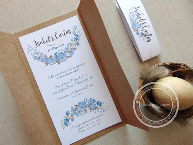 Bonitas invitaciones vintage en flores de acuarela con tarjetón en papel kraft