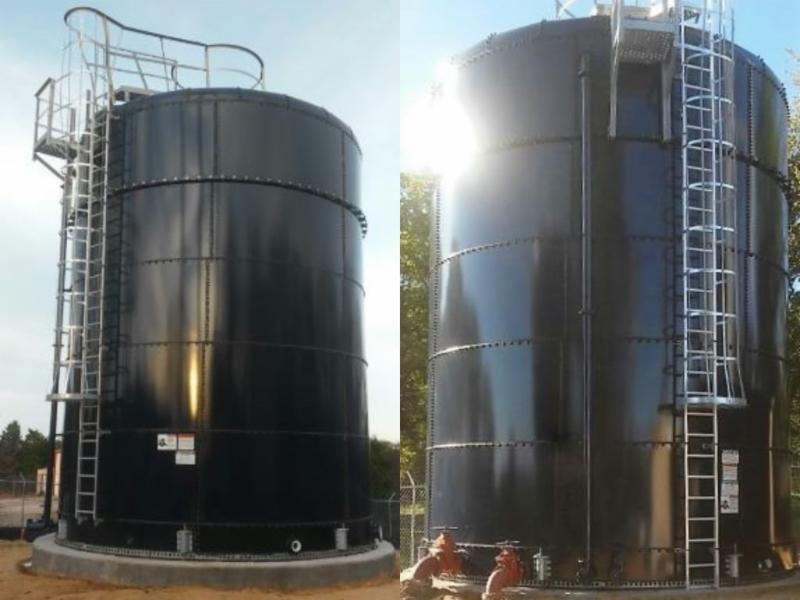 texas aquastore proudly announces the installation of two aquastore models  2024 cobalt blue glass-fused-to-steel tanks for virginia hills baxter pump