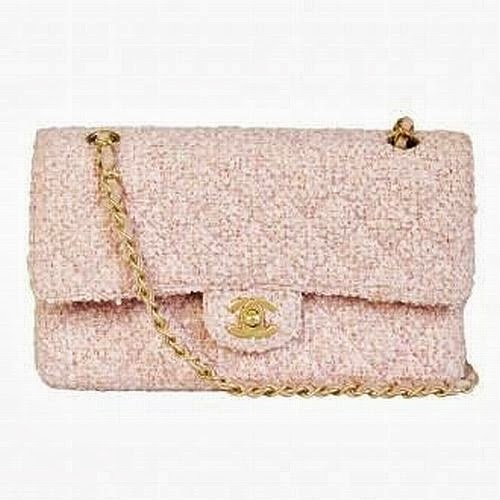 classic Chanel pale pink tweed 2.55 bag