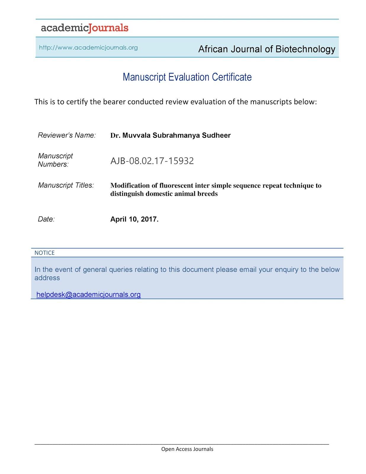 My Achievements 101 Manuscript Evaluation Certificate African
