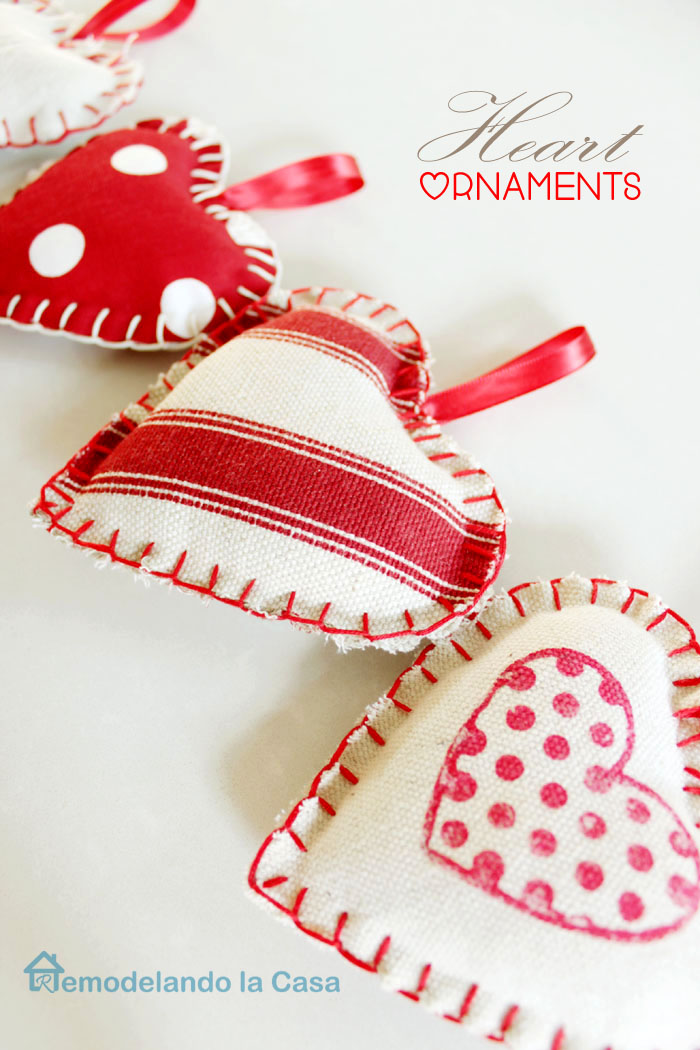 diy fabric heart ornaments to decorate for Christmas and Valentines