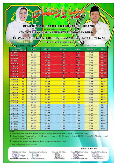 Jadwal Imsakiyah Ramadhan 1437 H Untuk Wilayah Subang