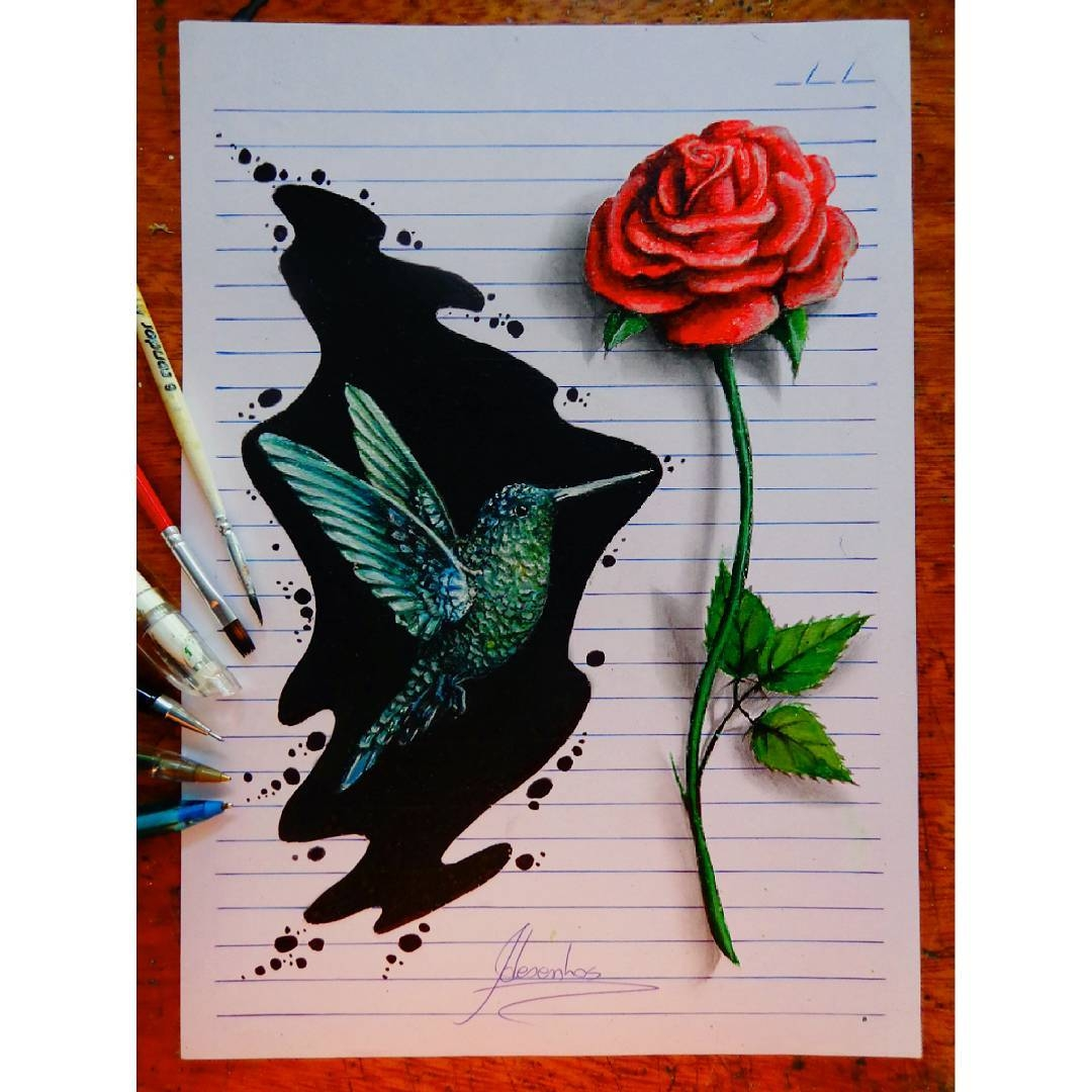 04-Hummingbird-and-the-Red-Rose-João-A-Carvalho-Drawing-and-Painting-3D-Optical-Illusions-see-the-Video-www-designstack-co