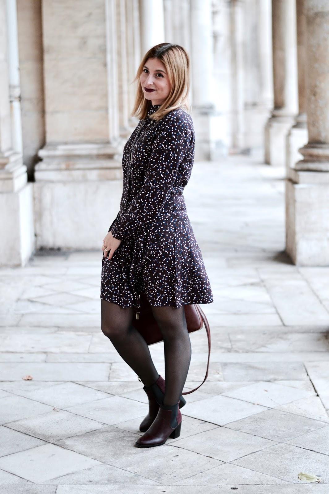 look automne : manteau long et robe chemise à motif bizzbee