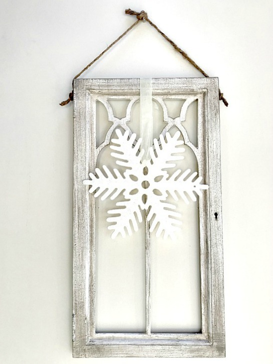 Gorgeous architectural window with dry brush technique  and a snowflake