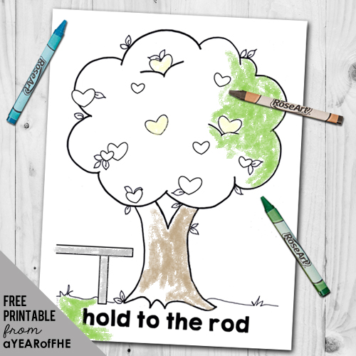 A Year of FHE // A free coloring page for young kids depicting the Tree of Life from Lehi's Dream.