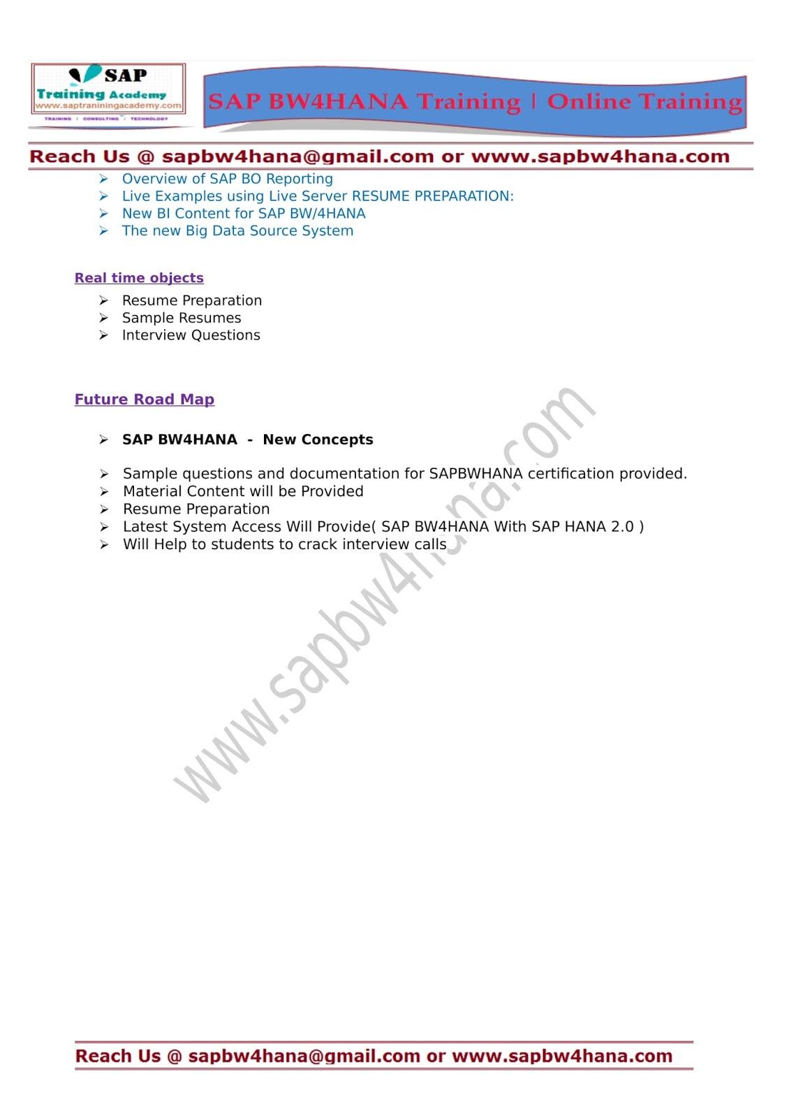 SAP BW4HANA Training   Certification   Online Training : SAP BW4HANA