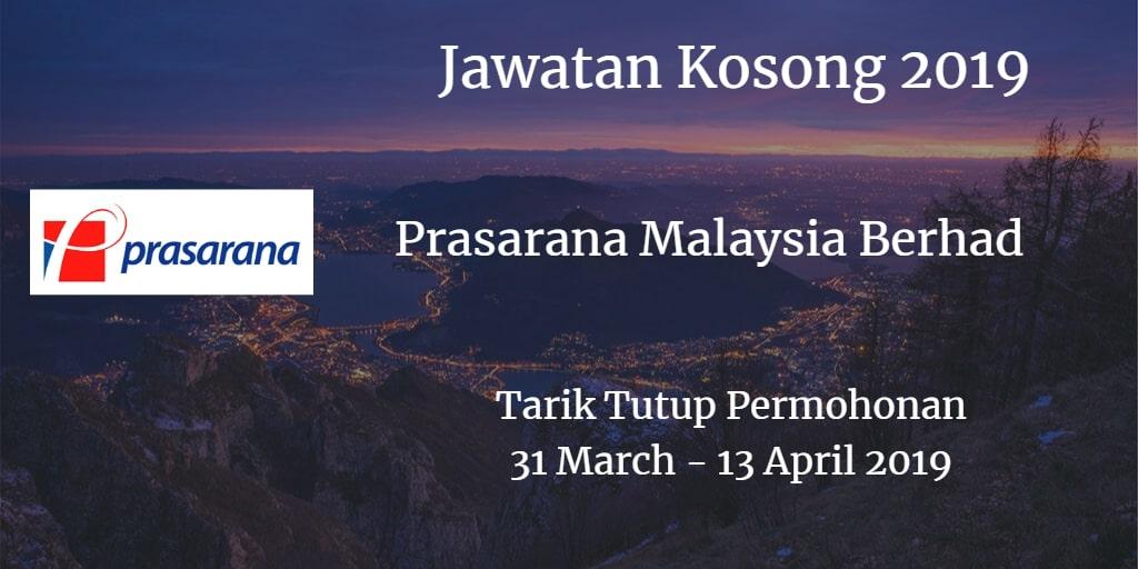 Jawatan Kosong Prasarana Malaysia Berhad 31 March - 13 April 2019