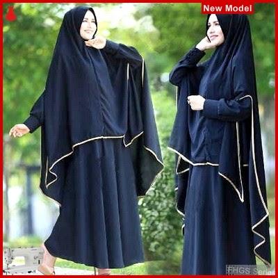 FHGS9101 Model Syari Zulfa Hitam, Perempuan Pakaian Muslim Jersey BMG