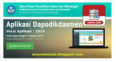 RILIS APLIKASI DAPODIKDASMEN VERSI 2019 - NEW TAHUN PELAJARAN 2018/2019