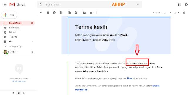 Masuk email yang menjelaskan penolakan adsense.