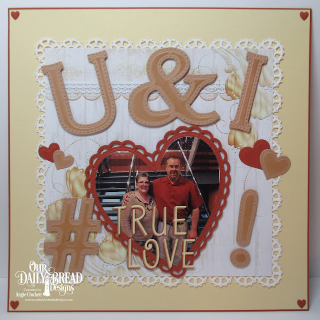 ODBD Custom Dies: Letter U, Letter I, Ampersand, Hashtag, Exclamation Point, Alphabet, Ornate Hearts, Layering Hearts, Clouds and Raindrops, Layered Lacey Squares, Wedding Wishes Paper Collection, Scrapbook Layout by Angie Crockett