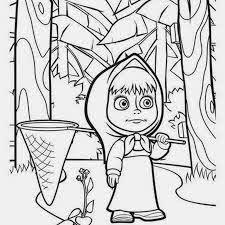 mewarnai gambar masha and the bear untuk anak