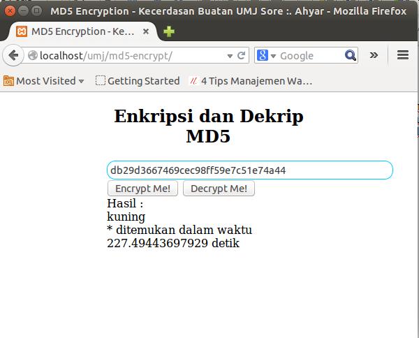 Enkripsi dan Dekripsi MD5 Hash di PHP dengan metode Brute Force