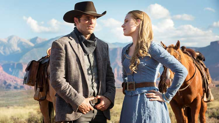 Evan Rachel Wood as Dolores and James Marsden as Teddy in Westworld's The Original.