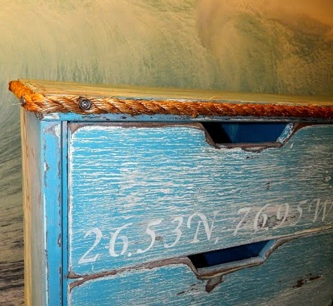 Nautical Dresser Makeover Idea with Rope