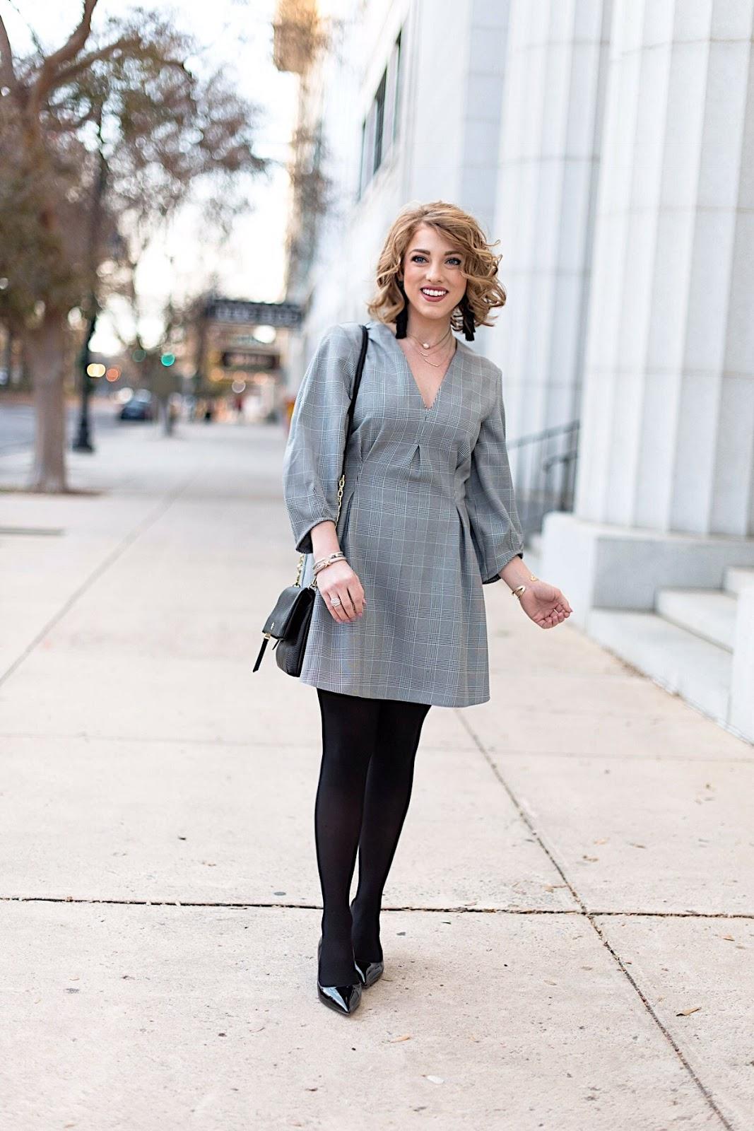 Glen Plaid Balloon Sleeve Dress - Something Delightful Blog