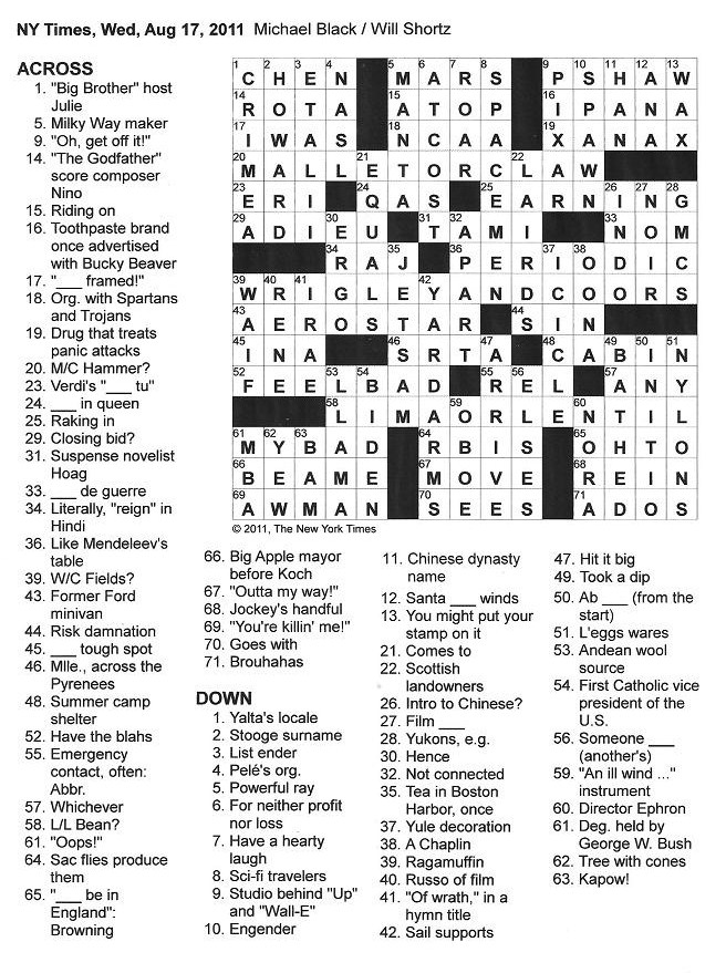 The New York Times Crossword in Gothic: 08.17.11 — M/C, W