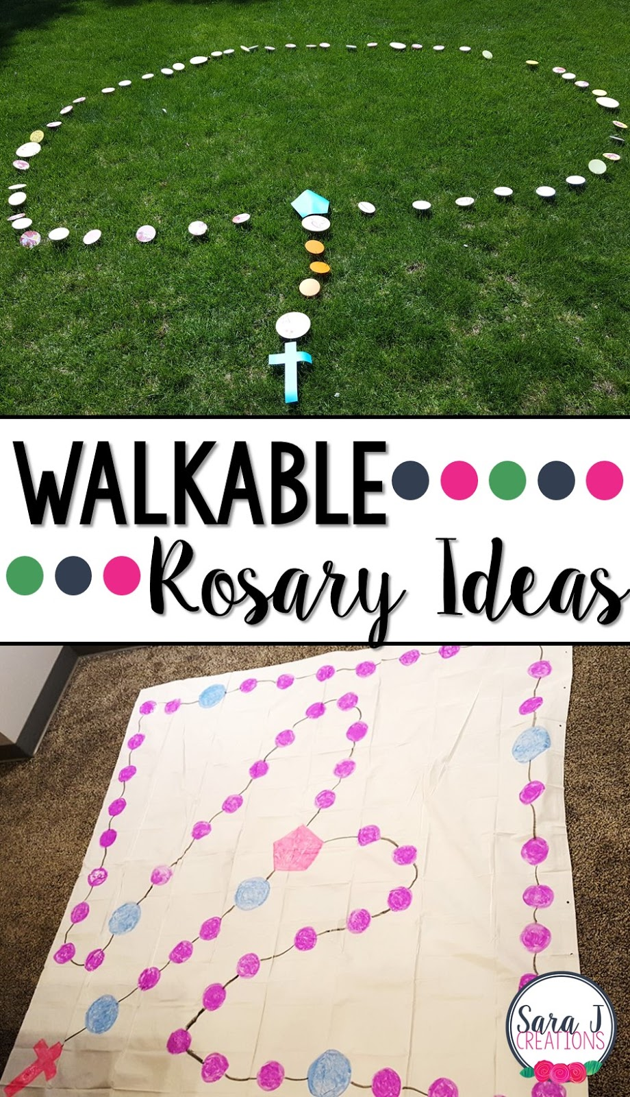 Help children learn to pray the Rosary in a fun and engaging way.   Walkable rosaries are a great way to get students up and moving whether inside or outside.