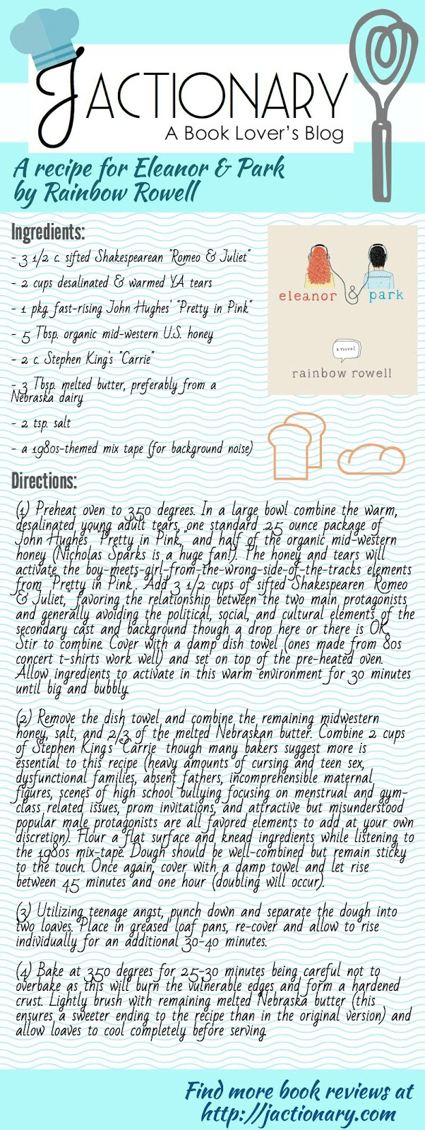 "A recipe for Rainbow Rowell's ""Eleanor & Park"" by jactionary.com"