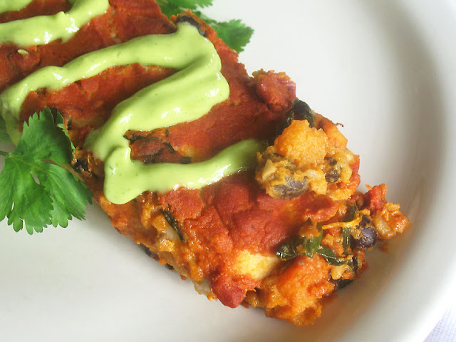 Vegan Black Bean and Sweet Potato Enchiladas with Avocado Cream Sauce