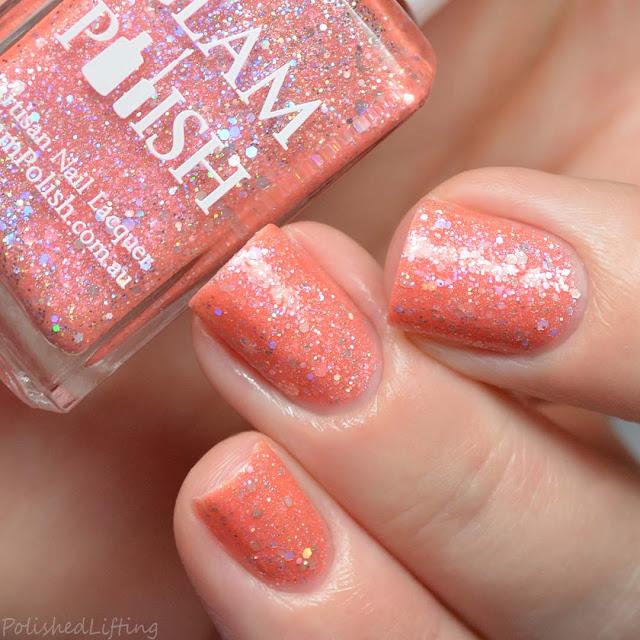 coral holographic nail polish