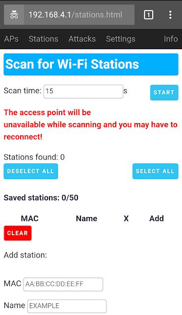 Scansione dei client connessi alla rete Wi-Fi selezionata