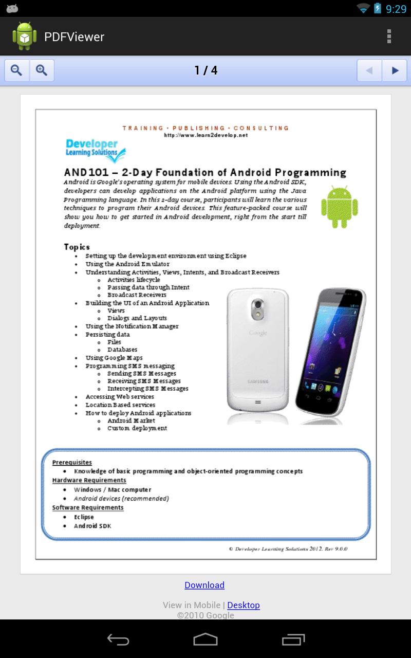Learn2Develop Net: Android Tip - Displaying a PDF Document