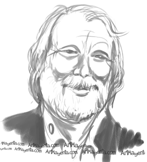 Benny Andersson caricature cartoon. Portrait drawing by caricaturist Artmagenta.