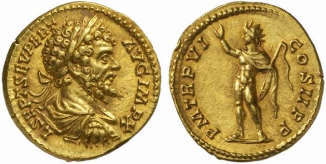 Áureo de Septimio Severo con Sol Invicto