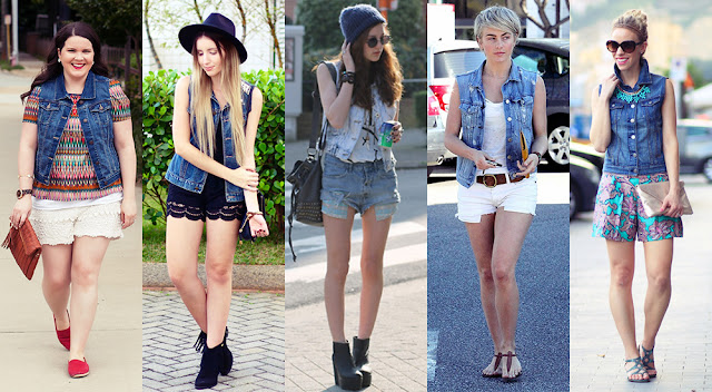 Resultado de imagem para como usar colete jeans sem manga com saia