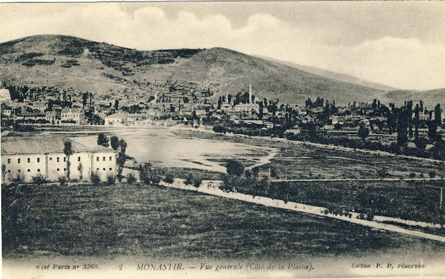 Panorama of part of Bitola with the White Barrack and training area in front of the barrack.