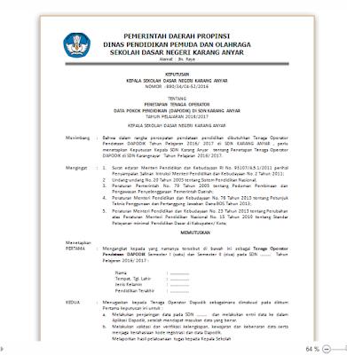 Contoh Format SK Guru Honorer dan Operator Sekolah Tahun Ajar 2016/2017
