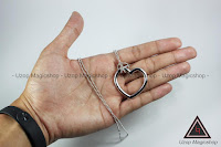 Jual alat sulap Ring and chain hati warna silver
