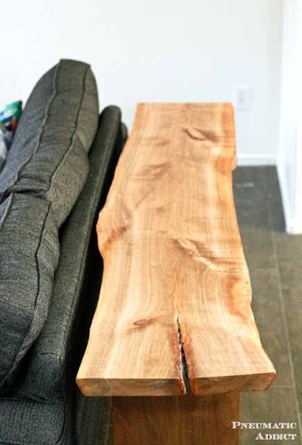 DIY live edge slab console table. Free build plans!
