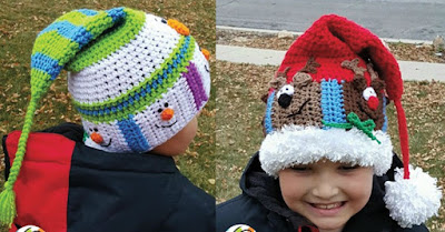 Crochet a Festive Stocking Cap Pattern Reindeer or Snowman
