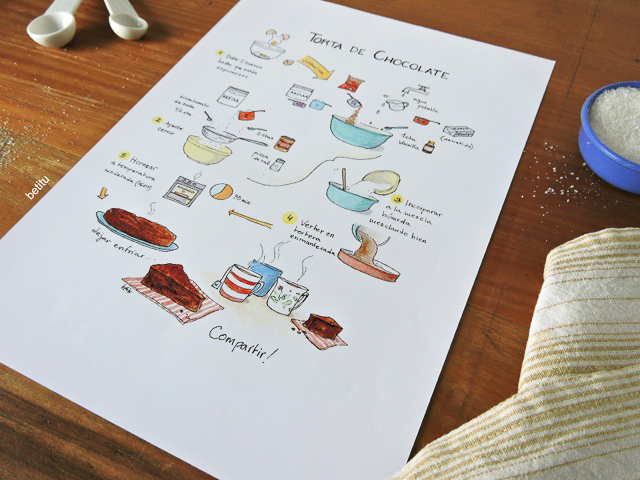 Chocolate cake watercolor print detail - illustrated by betitu