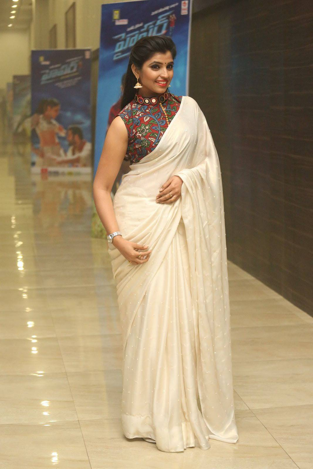 Tv Anchor Syamala Stills At Hyper Theatrical Trailer Launch In Hot White Saree
