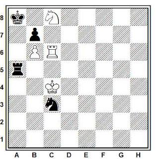 Estudio artístico de ajedrez compuesto por G. Kasparian (Ceskoslovensky Sach, 1987)
