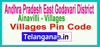 East Godavari District Ainavilli Mandal and Villages Pin Codes in Andhra Pradesh State