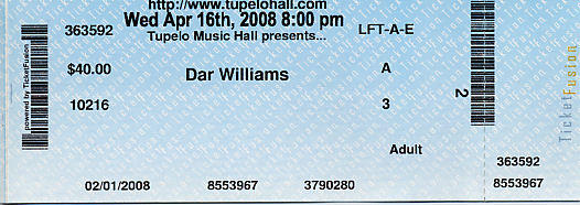 Dar Williams ticket stub