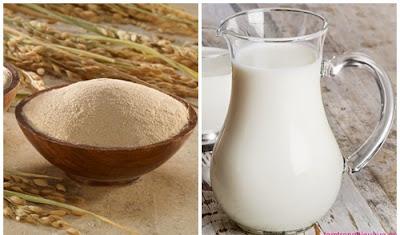 Cách làm trắng da bằng cám gạo và sữa tươi