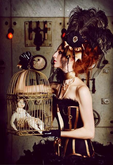 ostrich feather fascinator corset choker victorian birdcage steampunk lady