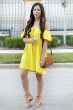 Shoulder Yellow Dress - Flaunt And Center
