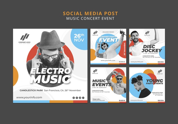Social media posts collection Free Psd